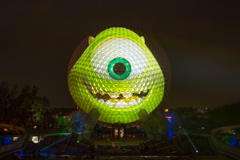 "Spaceship Earth Transforms into ""Monsters University"" Star M"